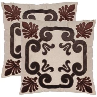 Safavieh Charm 18-inch Beige Decorative Pillows (Set of 2)