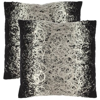 Swirls 18-inch Black Decorative Pillows (Set of 2)