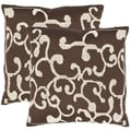 Safavieh Scrolls 18-inch Brown Decorative Pillows (Set of 2)