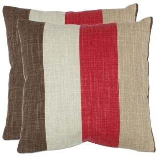 Stripes 18-inch Red/ Brown Decorative Pillows (Set of 2)