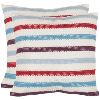 Honeycomb 18-inch Red/ White Decorative Pillows (Set of 2)