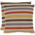 Honeycomb 18-inch Brown/ White Decorative Pillows (Set of 2)
