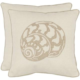 Sea Shell 18-inch Cream Decorative Pillows (Set of 2)