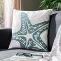 Starfish 18-inch White Decorative Pillows (Set of 2)