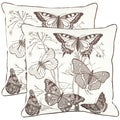Butterflies 18-inch White Decorative Pillows (Set of 2)