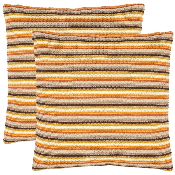 Safavieh Swirls 18-inch Orange Decorative Pillows (Set of 2)