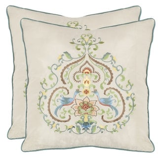 Love Birds 18-inch Cream Decorative Pillows (Set of 2)