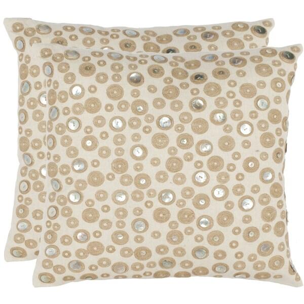 Safavieh Star Skies 18-inch Cream Decorative Pillows (Set of 2)