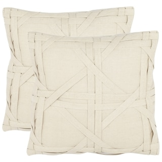 Cane Weave 18-inch Beige Decorative Pillows (Set of 2)