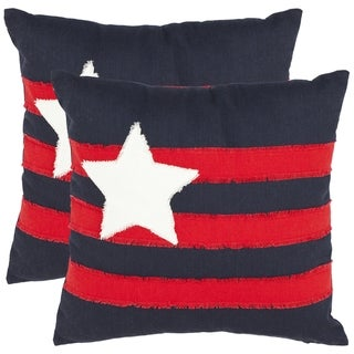 Safavieh Lone Star 18-inch Navy Decorative Pillows (Set of 2)