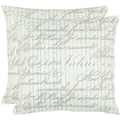 Vintage Script 18-inch White Decorative Pillows (Set of 2)