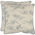 Sanctuary 18-inch White/ Blue Decorative Pillows (Set of 2)