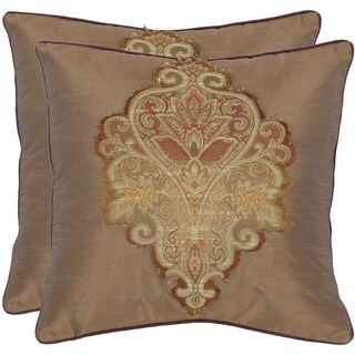 Safavieh Regal 18-inch Tan Decorative Pillows (Set of 2)