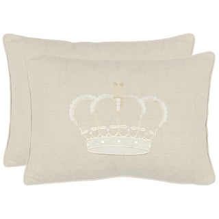Safavieh Crown 13-inch x 19-inch Cream Decorative Pillows (Set of 2)
