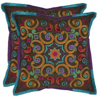 Safavieh Kaleidoscope 18-inch Brown Decorative Pillows (Set of 2)