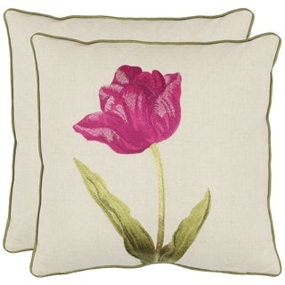 Solitude 18-inch White/ Fuchsia Decorative Pillows (Set of 2)