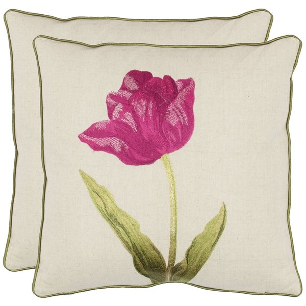 Safavieh Solitude 18-inch White/ Fuchsia Decorative Pillows (Set of 2)