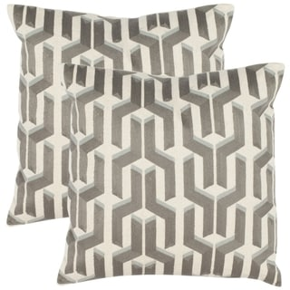 Pieces 18-inch White/ Silver Decorative Pillows (Set of 2)