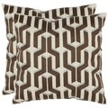 Pieces 18-inch White/ Brown Decorative Pillows (Set of 2)