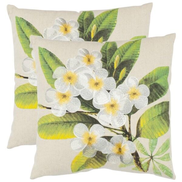 Safavieh Dogwood 18-inch Beige Decorative Pillows (Set of 2)