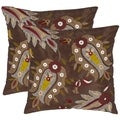 Safavieh Paisleys 18-inch Brown Decorative Pillows (Set of 2)
