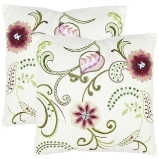 Paradise 18-inch Cream Decorative Pillows (Set of 2)