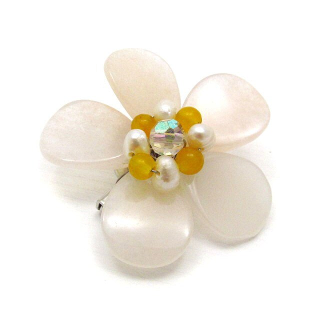 Mix Quartz Floral Purity Pearl Pin-Brooch (Thailand)