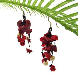 Red Ruffles Coral-Freshwater Pearl Cluster Dangle Earrings (Thailand)