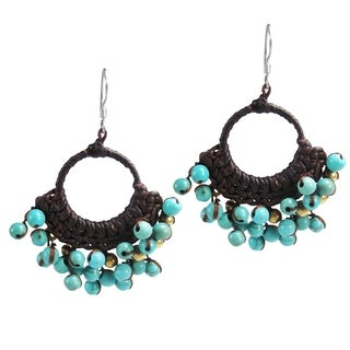 Blue Paradise Turquoise Stone Cotton Rope Chandelier Earrings (Thailand)