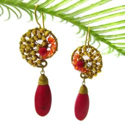 Graceful Teardrop Red Coral Brass Embellished Earrings (Thailand)