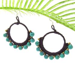Unique Hoop Turquoise-Brass Embellished Earrings (Thailand)