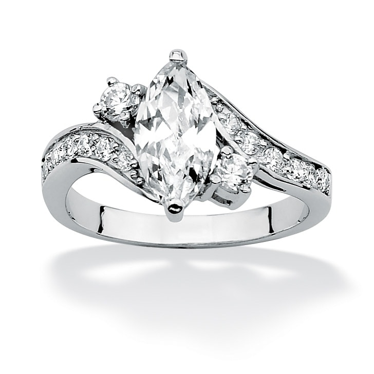 PalmBeach CZ 2 1/2 TCW Marquise-Cut Cubic Zirconia Sterling Silver Engagement Anniversary Ring Classic CZ