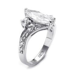 Ultimate CZ 2 1/2 TCW Marquise-Cut Cubic Zirconia Sterling Silver Engagement Anniversary Ring