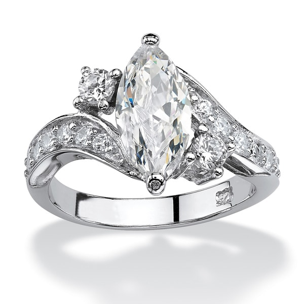 PalmBeach 2.49 TCW Marquise-Cut Cubic Zirconia Engagement Anniversary Ring in Sterling Silver Classic CZ