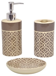 Lovely Lattice Taupe Bath Accessory 3-piece Set