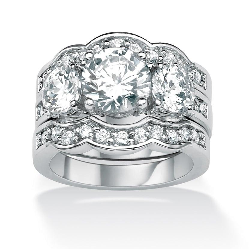 PalmBeach CZ Silvertone Cubic Zirconia Scalloped-edge Ring Set Glam CZ