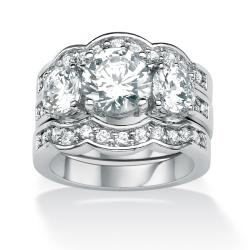 Ultimate CZ Silvertone Cubic Zirconia Scalloped-edge Ring Set