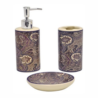 Paddock Shawl Brown Bath Accessory 3-piece Set