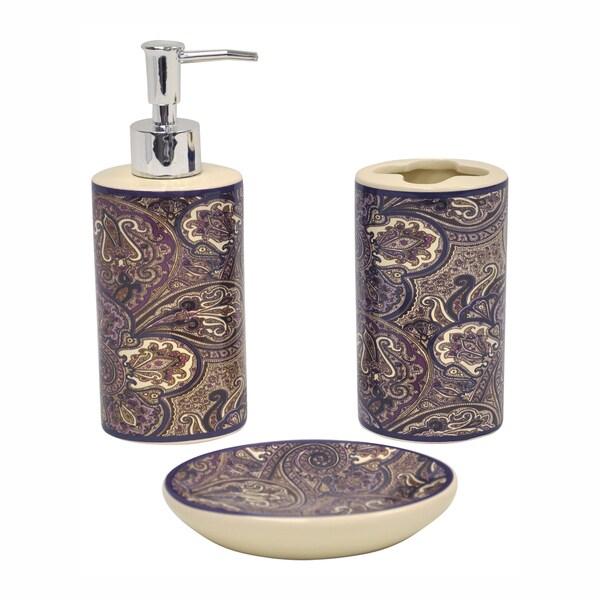 Paddock shawl brown bath accessory 3 piece set 14204517 for Brown bath accessories