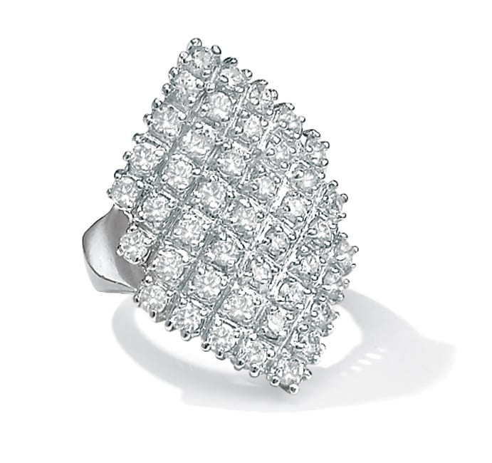 PalmBeach 2.58 TCW Round Cubic Zirconia Platinum-Plated Marquise-Shaped Cocktail Ring Glam CZ