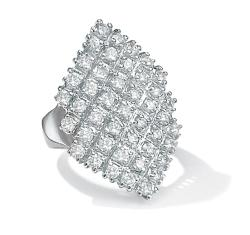 PalmBeach CZ Platinum Overlay Cubic Zirconia Marquise-shaped Ring Glam CZ
