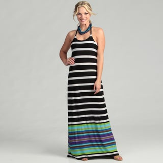 Abs Women's Black/ White Striped Braided Maxi Dress