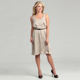 Emma and Michelle Women's Ruffle Belted Dress