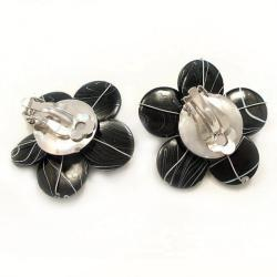 Sweet Daisy Black Zebra Painted Mother of Pearl Clip On Earrings (Thailand)