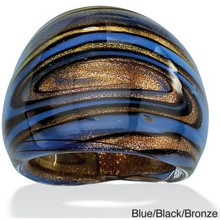 PalmBeach Blue, Black and Bronzetone Glass Dome Ring Color Fun