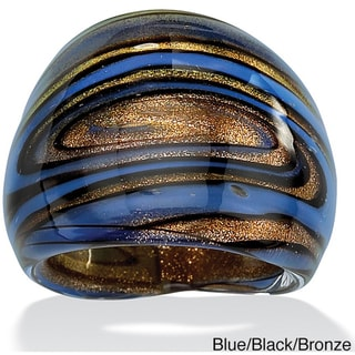 Lillith Star Blue, Black and Bronzetone Glass Dome Ring