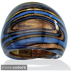 PalmBeach Blue, Black and Bronzetone Glass Dome Ring