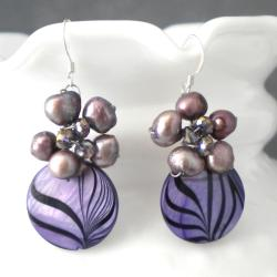 Purple Zebra Painted Mother of Pearl-Peal Cluster Earrings (Thailand)