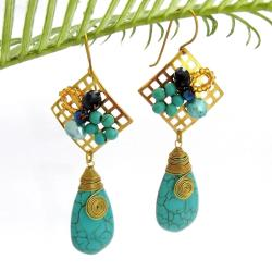Blue Teardrop Turquoise Square Net Brass Dangle Earrings (Thailand)