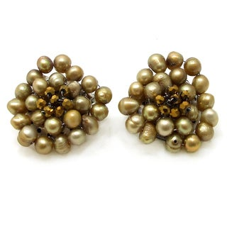 Golden Elegance Freshwater Pearl Chrysanthemum Clip On Earrings (Thailand)